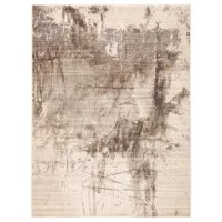 Modern and statement-making, this striking yet neutral area rug feature an abstract painterly-inspired design. This rug's soft and ridged, low pile combine with the durability of polyester and polypropylene for the perfect anchor in any sleek space.