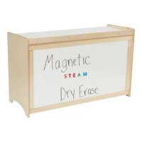 Childcraft Collaboration Desk features a white dry-erase writing surface on the desktop and a magnetic dry-erase board on the front panel. This desk is great for STEAM activities and collaboration. Desk top is 24 inches from the floor. Three shelves provide extra storage space and can fit cubby trays up to 11 x 16 x 6 inches. The front magnetic dry-erase is 19-1/4 x 43 inches. Arrives fully assembled.