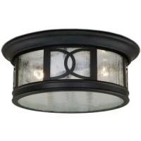 Accent any home's covered entry or front porch with this attractive flush mount and match it with a wall light next to the front door or on the garage. The oil rubbed bronze finish and clear seeded glass combine perfectly with the geometric design. This outdoor ceiling light is ideal for your covered porch, entryway, or any other area of your home.