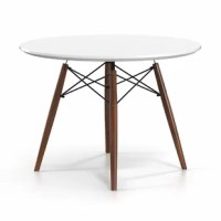 Bring mid-century modern style to your space in a cinch with this stylish dining table! Crafted from engineered wood in a lacquered white finish, the tabletop strikes a round silhouette with a smooth, reverse-beveled edge that meshes well in contemporary spaces. Four flared dowel legs sport a rich woodgrain finish, while architectural metal stretchers lend added stability and support. This dining table comfortably seats four, and pairs well with chairs having an 18