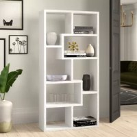 Cut the clutter in your living room, office, or den with this seven-tier ladder inspired bookcase. Showcase your favorite books or decorative pieces all in one place. It is crafted from manufactured wood with wood veneers. A tip-over restraint device is included with this bookcase.