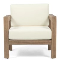Anchor your backyard or patio space in a fresh and classy atmosphere with their patio chair. Featuring acacia wood frames with plush water-resistant cushions, these chairs are as functional as they are comfortable. Resistant to outdoor elements, this set is the perfect addition to your lounge space for the summer season.
