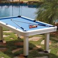 Bring the fun of playing pool outdoors with the Imperial 7-ft. Outdoor Billiard Table. The table features all aluminum corners, legs, and anodized aluminum rails with K66 cushion rubber. The bed comes out of the box clothed in Electric Blue, waterproof Taclon cloth. Mostly assembled; just bolt on the legs and use the large 5-inch built-in leg levelers to level the table and begin playing. The bed is made of Pearl Board; 140 layers of Formica sheets and polyester resin. It is put through a high...