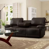 Uniquely appointed for ultimate relaxation, this collection will provide your living room with a comfortable place to spend your downtime. Dark brown bi-cast vinyl covers the plush seating of this motion seating group. The sofa features a unique drop-down back center console and dual reclining ends.