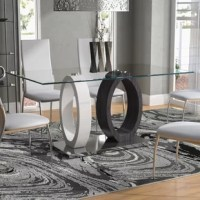 Striking ultra-modern design and bold styling this Oval Base Dining Table is in a class all by itself. This table boasts a square clear glass top, contrasting color oval design supports, stainless steel base with a polished chrome finish.