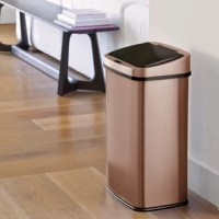 The trash can is ideal for the kitchen, breakroom, or restroom. Place your hand in sensor range and the lid will automatically open for you. When out of sensor range the lid will automatically close. No need to touch the trash can. Ring liner will hold and conceal the trash bag within the trash can.