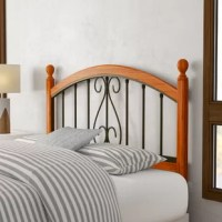 This Headboard elevates the traditional wood and metal bed to a new level. Featuring a slender cherry post with elongated oval finials, this headboard carries the wood accent along the top and bottom of the metal grills creating continuity and strength in this design concept. Framed by these wood borders, the metal grills feature a lovely traditional scrolled design and an always versatile and durable finish.