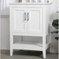 The nonchalant attitude of this vanity will have you wanting more. The slender handlebars open the two cabinet doors to reveal ample storage space to put away and store bathroom essentials, and the open space below allows for you to place clean towels on the rack. Topped with a Calcatta quartz countertop, you and your guests will enjoy this easy-going vanity.