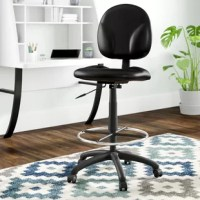 This very attractive stool is a modern piece of office furniture that cannot be overlooked with all it's features and style options. A contoured back and seat help to relieve back-strain while a pneumatic gas lift seat height adjustment mechanism makes it easy to raise and lower the stool while a strong 50'' diameter chrome foot ring provides stability. This drafting stool is fundamental in the office furniture world.