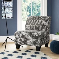 Founded on a sturdy poplar and plywood frame, this slipper chair strikes an oversized silhouette with a full back, deep seat, and four tapered block legs in a dark espresso finish. Showcasing a greek key print, polyester upholstery envelops the whole chair for a tailored touch, while synthetic fiber-wrapped foam fill provides added comfort and support.