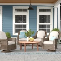 This club chair is a must-have addition to your outdoor seating ensemble. Crafted from an iron frame, its finished with water-resistant resin wicker to give you ease of mind during drizzles. Its set on a swivel to facilitate easy conversation, allow guests to watch their kids in the pool, or admire your landscaping. Its water-resistant polyester cushions add comfort while you're relaxing. Plus, it arrives in a set of four!