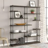The asymmetrical etagere/bookcase design has multiple levels of large and small shelves perfect in form and function. Sleek and chic this open bookcase shows off your library plants decor items and cookware in style! It complements and adorns any room it is placed in be it the living room bedroom kitchen office or the study. This collection industrial yet mid-century design melds rustic beauty of fine-grain reclaimed finished sustainable solid Paulownia (lightest to strongest ratio wood species...