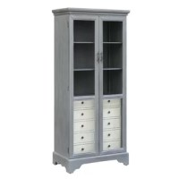 This Failand China Cabinet has a wood-toned finish all over. With tempered glass doors and all finished drawers, this piece screams functionality and style.