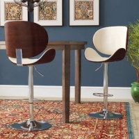Here's a bar stool that rises to the occasion. It is sleek and modern-meets-retro with chrome-tone accents, quick curves, and a different brown finish. Bone-colored faux leather upholstery elevates this bar stool. Influenced by a cool 70's vibe, it easily adjusts from counter to pub height, making the stool as versatile as it is attractive. This Menges Adjustable Height Swivel Bar Stool is a perfect seat for any trendy home bar or game room.