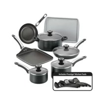 Create delicious meals and desserts with the convenient versatile Farberware High-Performance Nonstick 17-Piece Cookware Set. For over a century, Farberware has brought performance, convenience, and reliability to countless kitchens, and this cookware set continues that tradition for a new generation. Crafted from heavy-duty aluminum that heats evenly, the cookware pieces feature long-lasting nonstick for effortless food release and easy cleanup. The frying pans and griddle also boast the...
