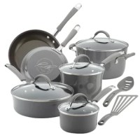 Get high performance and durability in the kitchen with the Rachael Ray Cucina Hard Enamel 12-Piece Nonstick Pots and Pans Cookware Set. Crafted with sturdy hard enamel porcelain exteriors and durable aluminum construction that promotes fast, even heating, these versatile pots, and pans incorporate the easy-to-use functionality and time-saving solutions Rachael is known for. Color meets convenience with the distinctive espresso-colored, PFOA-free non-stick that releases foods effortlessly...