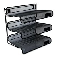 Desk shelf has three levels for organizing papers. Shelf can be mounted on partition or placed on a desk for easy access. Area for labels on each shelf for quick identification (labels not included).