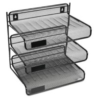 Holds letter size materials. Durable construction stands up to daily wear-and-tear. Area for label (labels sold separately) on each shelf for quick identification. Can be hung on partition wall for off-desk storage or stand alone for more organization. Keeps papers within reach but out of your way.