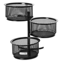 Swiveling tower design holds three round wire mesh dishes for paper clips, binder clips and more. Each dish swivels for easy access to contents. Desktop Supplies Organizer Type: Paper Clip Holders; Global Product Type: Desktop Supplies Organizers; Number of Compartments: N/A; Number of Drawers: N/A.