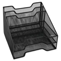 Contemporary mesh must-have organizer adds style, efficiency and productivity to your desktop. Features two easy-access inclined sorting pockets, plus three tray sections for storing notepads, papers and office supplies. Holds letter and A4 size documents and folders. Versatile design can be used in four different orientations and is ideal for corner space organization.