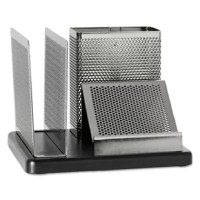 Contemporary wood and punched metal desk organizer features a pen/pencil compartment plus two sorting vanes for memo pads and messages. Also holds a 3 x 3 note pad while storing another (sold separately). Nonskid feet. Desktop Supplies Organizer Type: Pen/Pencil Cup Plus Storage; Global Product Type: Desktop Supplies Organizers; Number of Compartments: 3; Number of Drawers: N/A.