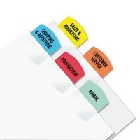 "Create permanent professional-quality indexes. Sturdy plastic self-adhesive tabs attach to any page to organize and index in a flash to keep you organized. Templates compatible with Windows version of WordPerfect and Microsoft Word. Use them on divider sheets or any size bound material€""index your specific titles. Will not tear or curl."