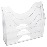 Optimize valuable office space with this versatile organizer: it stands upright, lays flat or mounts on the wall. Tiered pockets allow clear viewing of contents while curved design makes retrieval easy. Extra-thick plastic for maximum durability.