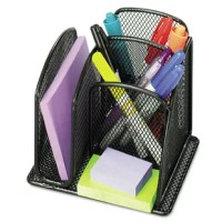 Effectively use desktop space with this mini organizer and keep your desk decluttered. Main compartments holds scissors, rulers, pencils and other tall items. The side compartment is perfect for pads and envelopes. Sturdy steel mesh construction with powder coat finish.