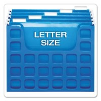 Fits on desktop or in file drawer. Holds letter size files up to 6'' capacity. Portable file has hand holes for carrying, making it easy to take your work with you. Includes five color Pendaflex hanging folders, tabs and blank inserts. Durable plastic construction.