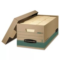 Eco-friendly storage drawer is made of 100 percent post-consumer material. Sturdy construction provides 30 percent greater stacking strength than other brands. Locking liftoff lid is 35 percent deeper to stay in place and secure contents. Smooth rolled box edges add strength and help prevent paper cuts. Storage drawer also offers easy assembly with Easy FastFold and One Step setup.