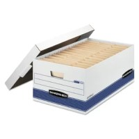 Double end, 1 1/2 side, double bottom construction. Medium duty for use with or without shelving. FastFold quick and easy assembly. Deep locking lift-off lid stays in place for secure file storage. Rolled edges add strength and prevent paper cuts.