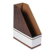Premium corrugated construction with glued side panels withstands heavy day-to-day usage. Organizes and stores a variety of letter size binders, projects, file folders, catalogs and periodicals. Shipped flat, easy to assemble. Label area on all sides. Woodgrain design blends with any decor. Sturdy and durable. 12 files per carton.