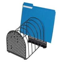 Bring designer styling plus organization to your office with this contemporary arched design. Desk file features attractive perforated metal end panel and durable wire construction. Sturdy wire dividers spaced 1 1/8'' apart to organize papers and files.