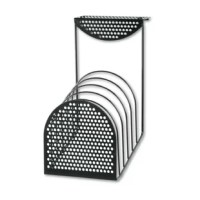Six 1 1/8'' compartments hold folders, files and more. The stepped design in and upscale perforated metal/wire style is attractive and accessible. Universal mounting bracket fits panels 1 1/2'' to 3'' thick. Partition mount only.
