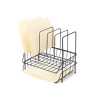 Organize and prioritize your documents and files. Space-saving design incorporates two side load letter-size trays under a file sorter. Sturdy, sleek wire construction. Rubber feet protect desktop.