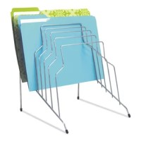 Open wire design keeps documents and files in clear view. Stepped sections for easy viewing and quick access to folders, letter and legal size papers. Wire design wth rubber-tipped feet to protect your desktop.