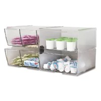 See your desktop supplies at a glance! Transparent organizers hold small supplies and keep your desk clutter-free. Includes clips to link cubes together. Sturdy plastic construction.