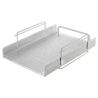 Strong, professional grade punched metal with decorative urban style slotted pattern. High quality satin finish complements any décor. Features protective feet to prevent surface wear and scratches on the desktop surface. Reinforced rounded edges provide durability and attractive detailing. Stackable, front-loading letter tray designed for easy access to materials.