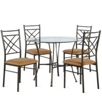 Bring a stylish, contemporary touch to your dining room with the sleek construction and two-tone aesthetic of this 5-Piece Glass Top Dining Set. Designed with small space in mind, this 5-piece standard height set offers a traditional look, perfect for entertaining with a round tabletop and four sturdy chairs. The beautifully tempered round glass top features a beveled edge while the chairs bring a durable, ornate detailing and a comfortably padded seat upholstered in dark beige microfiber. The...