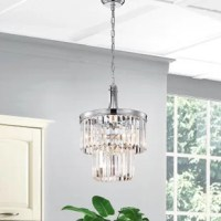 Opulent and dazzling, this chandelier adds style to any room. The two tiers feature rectangular colonial crystals dripping from a chrome frame. Picture this gorgeous light in your bedroom, bathroom or even over your kitchen island. Your friends and family will be dazzled. The 40