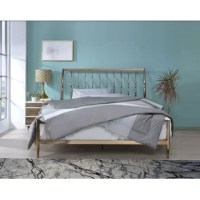 This bed brings about a classy touch. It features tapered legs and a slatted headboard. This queen bed is crafted from metal which offers a smooth finish and tensile strength.