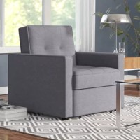 This Convertible Arm Chair Bed featuring ribbed edges and biscuit tufting will fit perfectly in any living space. With a comfort-oriented design, this convertible chair bed is multi-functional converting easily between a chair, chaise lounger, and bed.