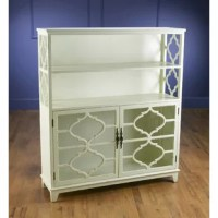 Featuring 2 open shelves and chic quatrefoil overlay, this display case is the perfect home for a collection of novels, travel souvenirs, or fine china.