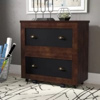 Ensure your office has plenty of room for important documents and other information by bringing in this Zakhar Industrial 2-Drawer Vertical Filing Cabinet. In addition to its stylish versatility, this piece features stylish plank-like side paneling to give it a more rustic appearance. Let organization nightmares become a thing of the past with the 2 drawers' chalkboard fronts, which makes labeling various categories a breeze. Both drawers offer plenty of space with their wide compartments...