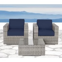 The classic look of weathered gray wicker gets handwoven in modern clean lines that make this 3-piece conversation set a must-have for completing your patio look. Two armchairs and a glass-topped coffee table are built from resin wicker-wrapped aluminum for an outdoor furniture set that's as sturdy as it is stylish. The club chairs are topped with 5'' thick foam cushions with Sunbrella fabric zip covers that you can remove for a quick and easy wash. It all arrives fully assembled, backed by a...