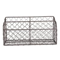 "Crafted of antiqued finish ""chicken coop"" metal wire for a vintage look, and a sturdy frame, this desktop organizer will stylishly house bills and incoming and outgoing letters. Complete your home office with this dual compartment, rustic looking letter holder. Keep on an entryway table so you don't forget to take the mail to the mailbox or in an office to help sort bills."