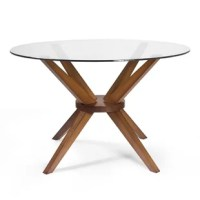 Blending thought-provoking design and symmetrical style, this dining table lend mid-century modern appeal to any dining space. Crafted of solid beechwood in a classic stain, its open-frame pedestal base showcases for angular legs and around center support for a calming, balanced aesthetic. Its round tabletop is constructed from clear tempered glass and comfortably accommodates up to four people.