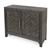 World-inspired style and mid-century modern design combine in this curated two-door accent cabinet. Crafted with solid acacia wood in a dark brown stain or platinum finished in a handsome wire-brush treatment, this cabinet strikes a rectangular silhouette measuring 32