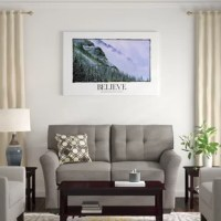 Wall art entitled 'Believe: Faith as Small as a Mustard Seed Can Move Mountains' by Kate Lillyson. Themes in this image include snow, mountains, Banff, motivational poster, inspirational poster, believe. Primary colors include sky blue, black, light gray, white.