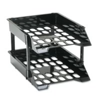 Industrial-duty trays hold heavy items, yet are lightweight. Labeling area on each tray (labels not included). Stacks with matching plastic risers. Durable plastic. Two trays plus four 3'' and four 5'' plastic risers per set. Desk Tray Type: N/A; Global Product Type: Desk Trays; Holds Paper Size: N/A; Width: 11 1/4 in.PRODUCT DETAILS:Number of Tiers : 2Desk Tray Special